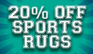 Going on now! 20% off Sports Rugs! Choose from a large selection of NFL, NCAA, NHL, or MLB. Hurry while the sale is still here, only at Abbey Carpet Gallery in Davenport, Iowa!