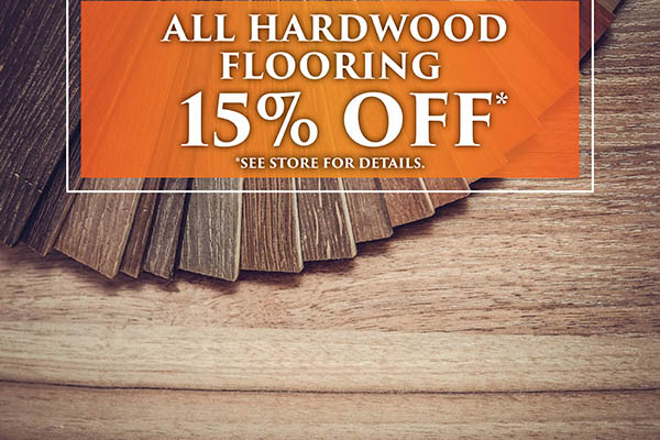 Save 15% off all hardwood flooring this month at Abbey Carpet Gallery in Davenport!